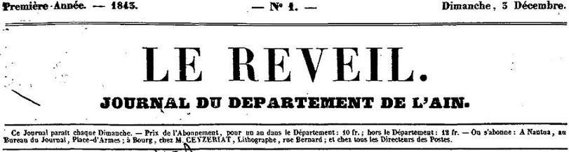 Photo (Auvergne-Rhône-Alpes livre et lecture) de : Le Réveil. Nantua: au bureau du journal, 1843-1847. ISSN 2430-9893.