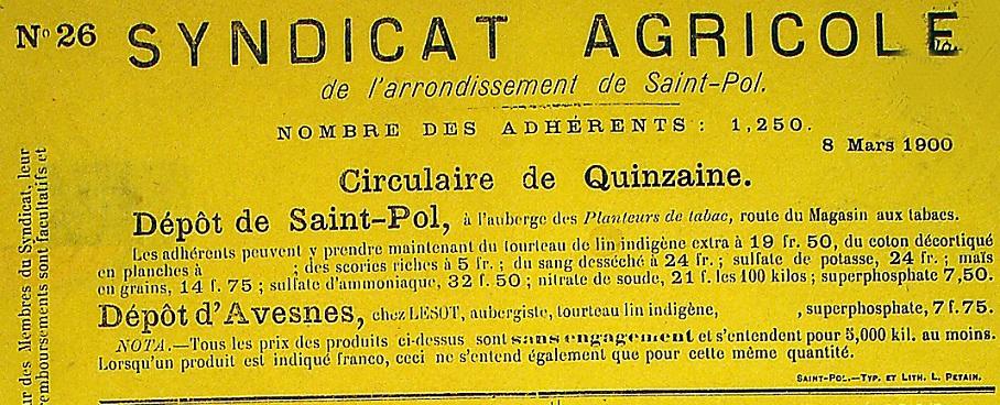 Photo (Société des amis de Panckoucke) de : Circulaire de quinzaine. Syndicat agricole de l'arrondissement de Saint-Pol. Saint-Pol-sur-Ternoise, [1899 ?-1902 ?]. ISSN 2557-9606.