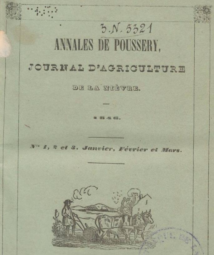 Photo (BnF / Gallica) de : Annales de Poussery. Nevers, 1846-[1855 ?]. ISSN 2119-6745.
