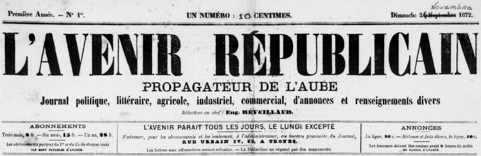 Photo (BnF / Gallica) de : L'Avenir républicain. Troyes, 1872-1882. ISSN 2262-4759.
