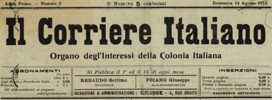 Photo (BnF / Gallica) de : Il Corriere italiano. Grasse, 1910. ISSN 2124-491X.