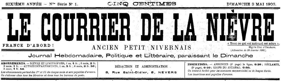 Photo (BnF / Gallica) de : Le Courrier de la Nièvre. Nevers, 1903-[1905 ?]. ISSN 2117-3761.
