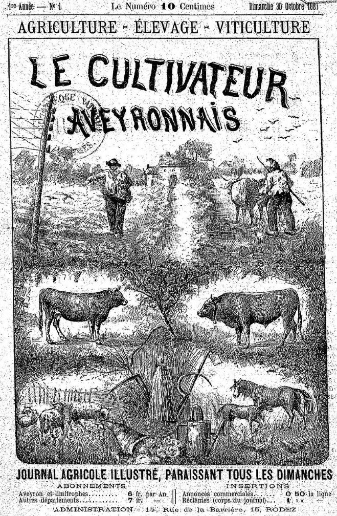 Photo (BnF / Gallica) de : Le Cultivateur aveyronnais. Rodez, 1887-[1932 ?]. ISSN 2125-334X.