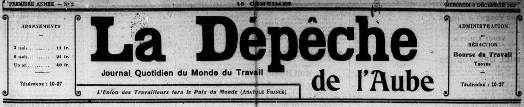 Photo (BnF / Gallica) de : La Dépêche de l'Aube. Troyes, 1920-1948. ISSN 2263-1070.