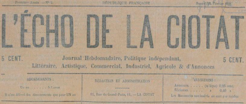 Photo (BnF / Gallica) de : L'Écho de La Ciotat. La Ciotat, 1895. ISSN 2126-2551.