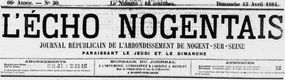 Photo (BnF / Gallica) de : L'Écho nogentais. Nogent-sur-Seine, 1845-1956. ISSN 2263-2735.