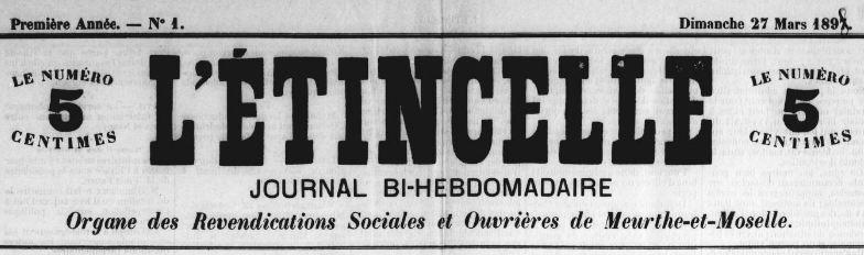 Photo (BnF / Gallica) de : L'Étincelle. Nancy, 1898. ISSN 1966-3005.