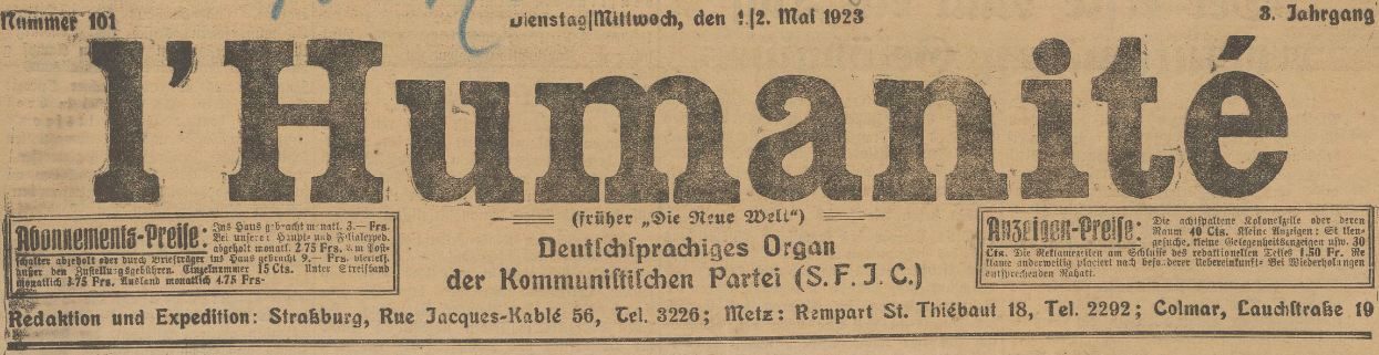 Photo (BnF / Gallica) de : L'Humanité. Strasbourg, Metz, Colmar, 1923-1926. ISSN 2015-2221.