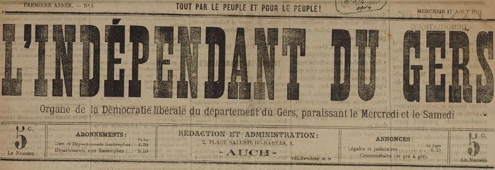 Photo (BnF / Gallica) de : L'Indépendant du Gers. Auch, 1904-1905. ISSN 2129-6111.