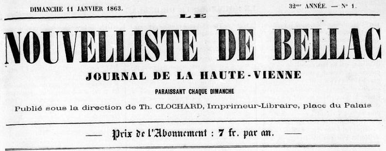 Photo (BnF / Gallica) de : Le Nouvelliste de Bellac. Bellac, [1831 ?-1942 ?]. ISSN 2133-1472.