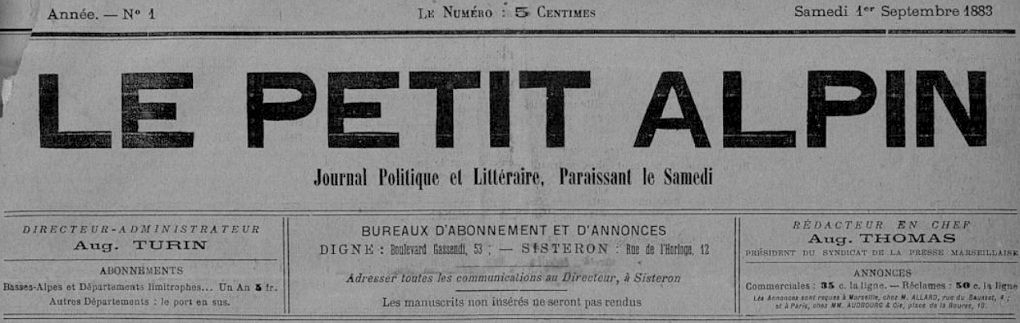 Photo (Bibliothèque municipale (Sisteron, Alpes-de-Haute-Provence)) de : Le Petit Alpin. Sisteron, 1883-1885. ISSN 2020-4639.