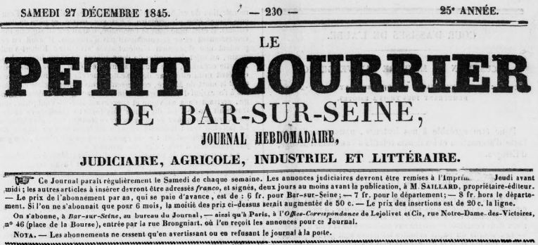 Photo (BnF / Gallica) de : Le Petit courrier de Bar-sur-Seine. Bar-sur-Seine: Ferréol Saillard, 1841-1916. ISSN 2261-5660.