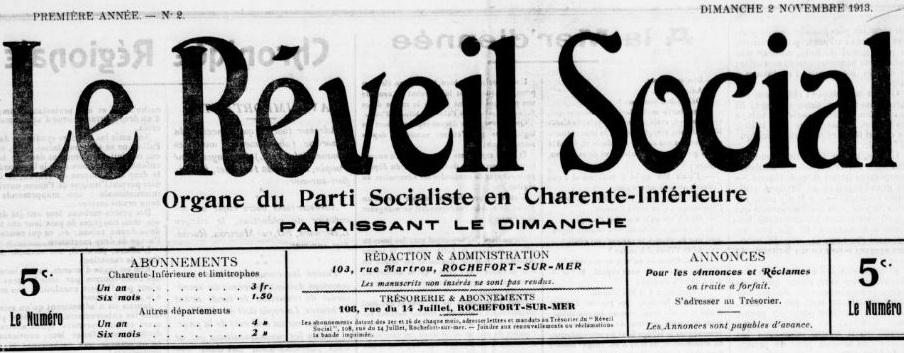 Photo (BnF / Gallica) de : Le Réveil social. Rochefort, 1913-1914. ISSN 2137-1466.