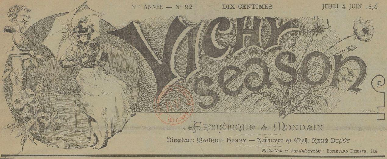 Photo (BnF / Gallica) de : Vichy-season. Vichy, 1896-1911. ISSN 2139-8763.