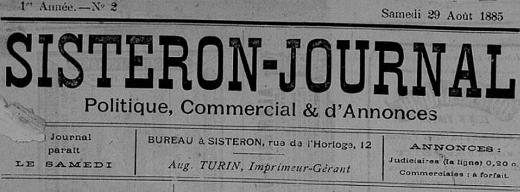 Photo (Bibliothèque municipale (Sisteron, Alpes-de-Haute-Provence)) de : Sisteron-journal. Sisteron, 1885-. ISSN 1142-3390.