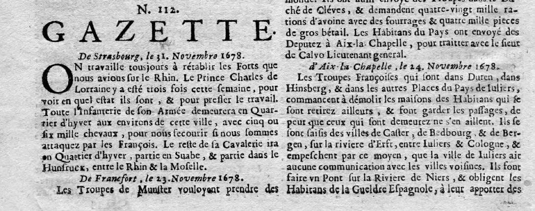Photo (Auvergne-Rhône-Alpes livre et lecture) de : Gazette. Lion: impr. Jacques Roussin, [1633?]-1751. ISSN 1967-9297.