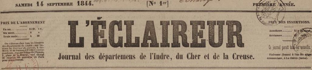 Photo (BnF / Gallica) de : L'Éclaireur. La Châtre, 1844-1848. ISSN 2021-9091.