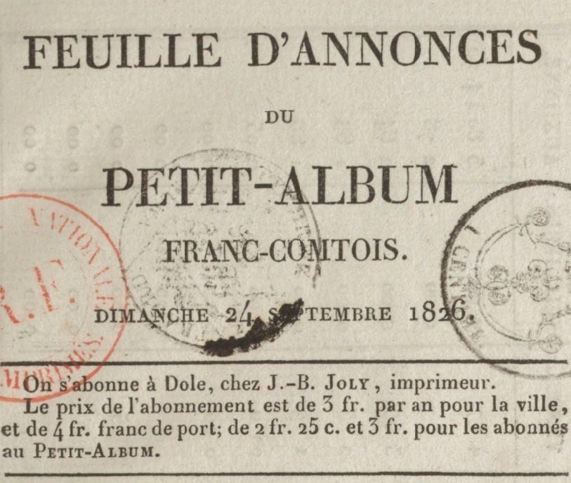 Photo (BnF / Gallica) de : Feuille d'annonces du Petit album franc-comtois. Dole, [1826 ?-1829 ?]. ISSN 2127-9241.