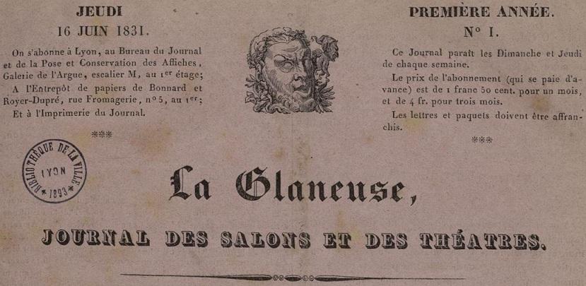 Photo (Bibliothèque municipale (Lyon)) de : La Glaneuse. Lyon: au bureau du journal, 1831-1834. ISSN 2128-9255.