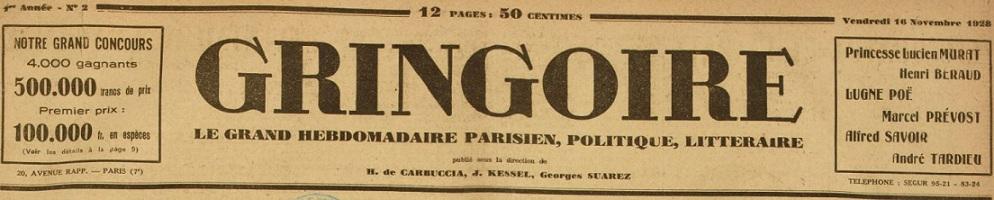 Photo (BnF / Gallica) de : Gringoire. Paris, 1928-1944. ISSN 0767-2411.
