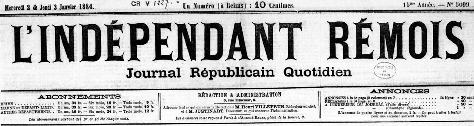 Photo (BnF / Gallica) de : L'Indépendant rémois. Reims, 1868-1921. ISSN 2129-660X.