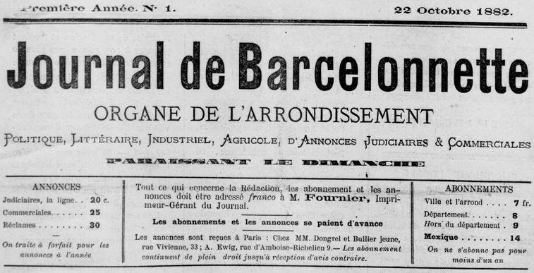 Photo (Médiathèque (Barcelonnette, Alpes-de-Haute-Provence)) de : Journal de Barcelonnette. Barcelonnette, 1882-1944. ISSN 2020-4531.