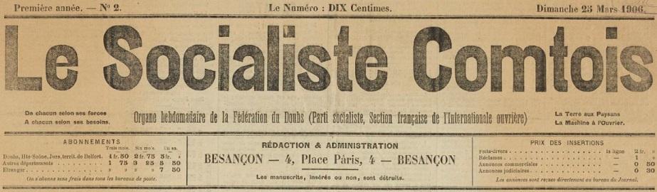 Photo (BnF / Gallica) de : Le Socialiste comtois. Besançon, 1906-1909. ISSN 2025-5047.