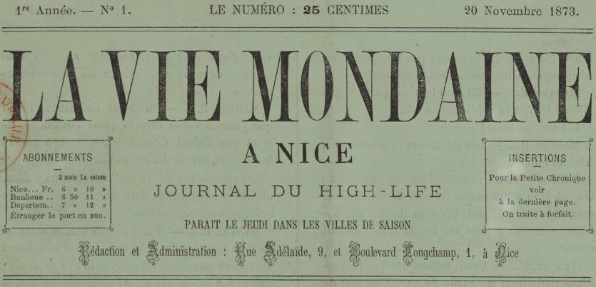 Photo (BnF / Gallica) de : La Vie mondaine à Nice. Nice, 1873-1914. ISSN 2021-1422.