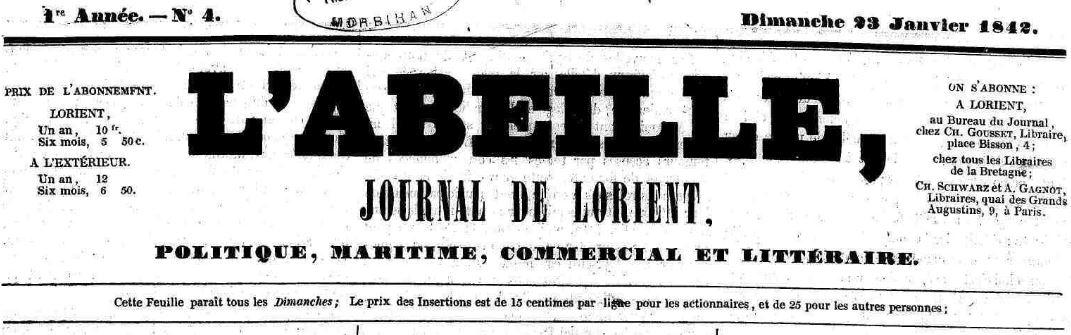 Photo (Morbihan. Archives départementales) de : L'Abeille. Lorient, 1842-1846. ISSN 2120-0351.