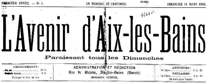 Photo (Aix-les-Bains (Savoie). Archives municipales) de : L'Avenir d'Aix-les-Bains. Aix-les-Bains, 1883-[1940 ?]. ISSN 2121-3518.