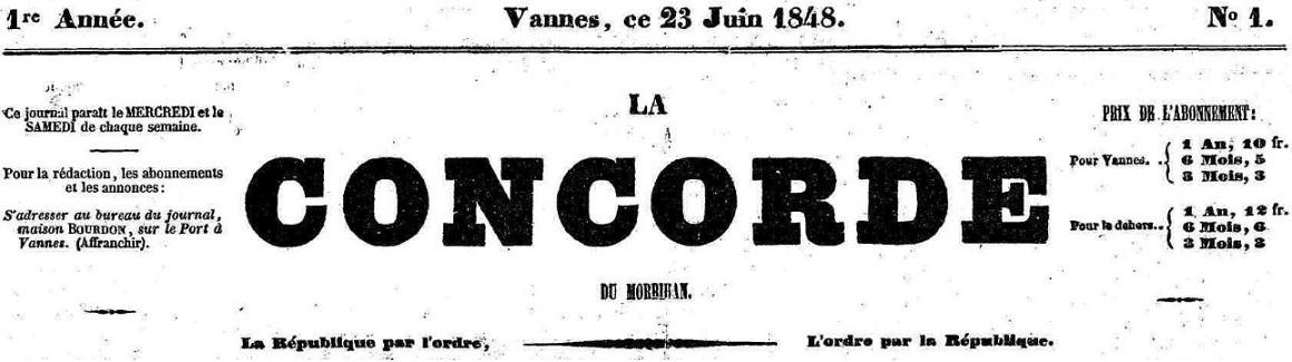 Photo (Morbihan. Archives départementales) de : La Concorde du Morbihan. Vannes, 1848-[1852 ?]. ISSN 2124-3166.