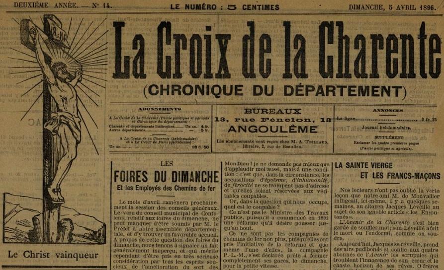 Photo (BnF / Gallica) de : La Croix de la Charente. Angoulême, 1895-1939. ISSN 2103-2270.