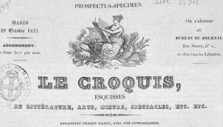Photo (Bibliothèque municipale (Marseille)) de : Le Croquis. Toulon, 1833-1834. ISSN 2493-4852.
