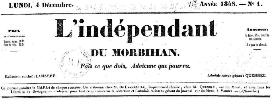Photo (Morbihan. Archives départementales) de : L'Indépendant du Morbihan. Vannes: impr. de Lamarzelle, 1848-1850. ISSN 2129-6243.