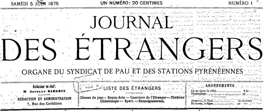 Photo (Communauté d'agglomération (Pau)) de : Journal des étrangers. Pau, 1875-1895. ISSN 2017-3474.
