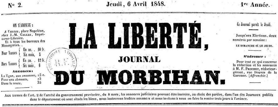 Photo (Morbihan. Archives départementales) de : La Liberté. Vannes, 1848-1850. ISSN 2131-2982.
