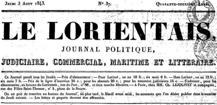 Photo (Morbihan. Archives départementales) de : Le Lorientais. Lorient, [1843 ?]-1851. ISSN 2131-5671.