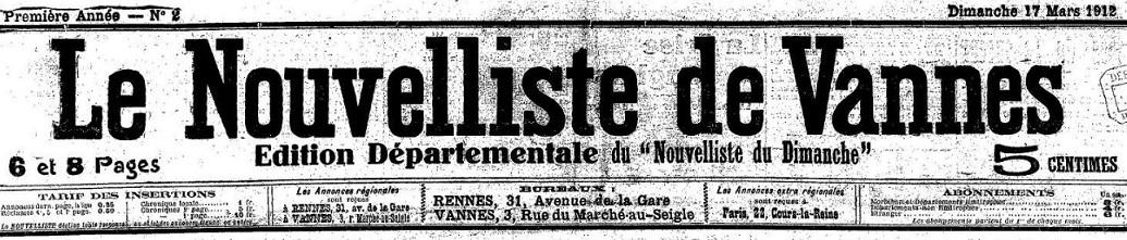 Photo (Morbihan. Archives départementales) de : Le Nouvelliste de Vannes. Rennes, Vannes, 1912-1944. ISSN 2133-1855.