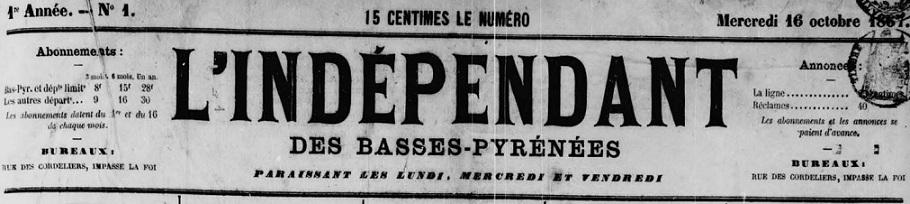 Photo (Communauté d'agglomération (Pau)) de : L'Indépendant des Basses-Pyrénées. Pau, 1867-1944. ISSN 0996-1267.