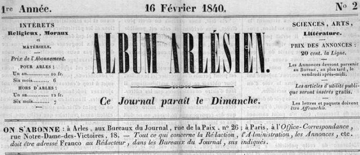 Photo (Bibliothèque municipale (Marseille)) de : Album arlésien. Arles, 1840-1843. ISSN 1149-8897.