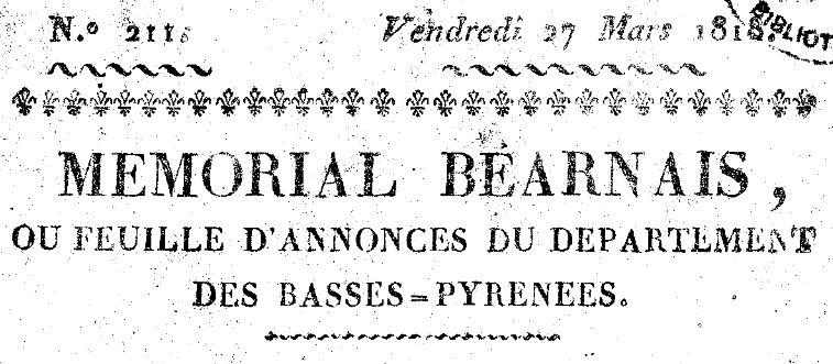 Photo (Communauté d'agglomération (Pau)) de : Mémorial béarnais. Pau, 1815-1828. ISSN 1261-5900.