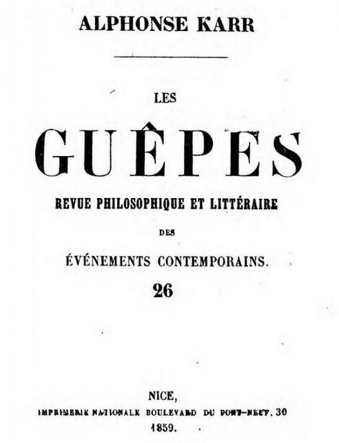 Photo (Österreichische Nationalbibliothek) de : Les Guêpes. Nice: Imprimerie nationale, 1858-1876. ISSN 1965-9423.