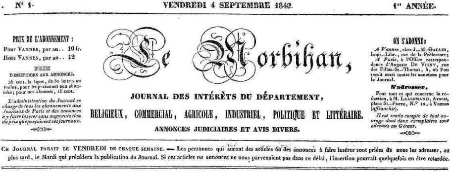 Photo (Morbihan. Archives départementales) de : Le Morbihan. Vannes: J.-M. Galles, 1840-1848. ISSN 2022-2319.