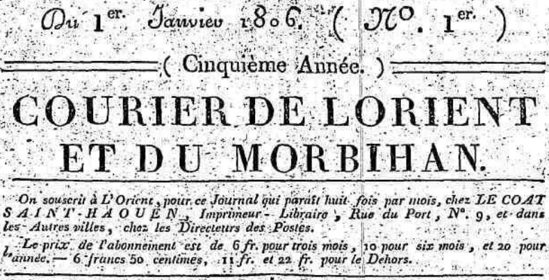 Photo (Morbihan. Archives départementales) de : Courier de Lorient et du Morbihan. Lorient: Le Coat Saint-Haouen, [1801 ?-1811 ?]. ISSN 1967-8568.