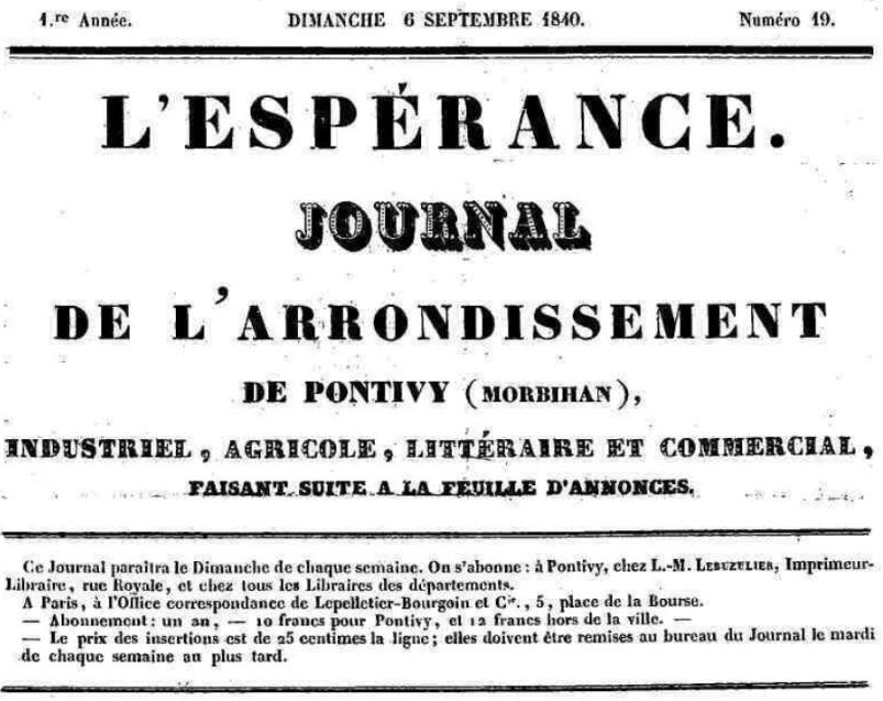 Photo (Morbihan. Archives départementales) de : L'Espérance. Pontivy, 1840-[1847 ?]. ISSN 1967-8584.