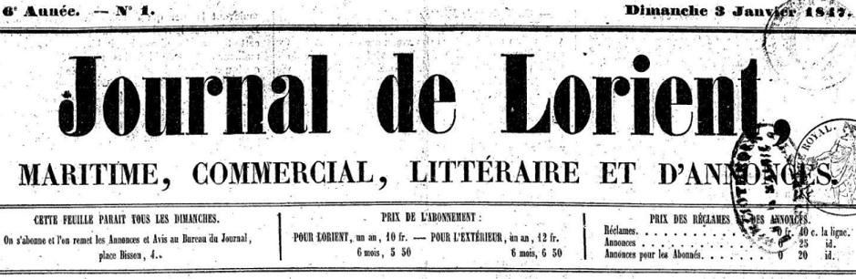 Photo (Morbihan. Archives départementales) de : Journal de Lorient. Lorient, 1847-1848. ISSN 1967-8622.