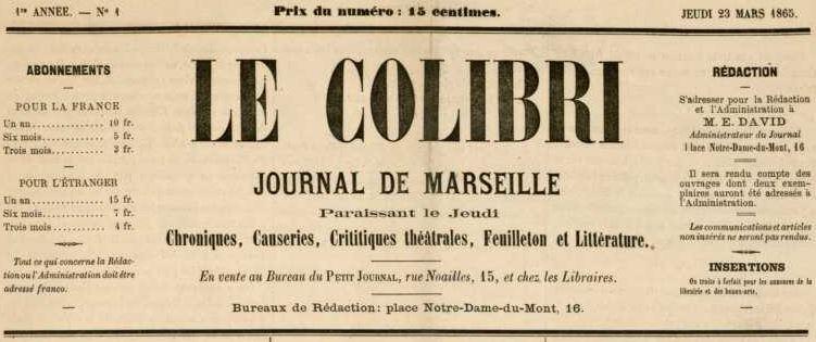 Photo (Bibliothèque municipale (Marseille)) de : Le Colibri. Marseille, 1865. ISSN 2259-1869.