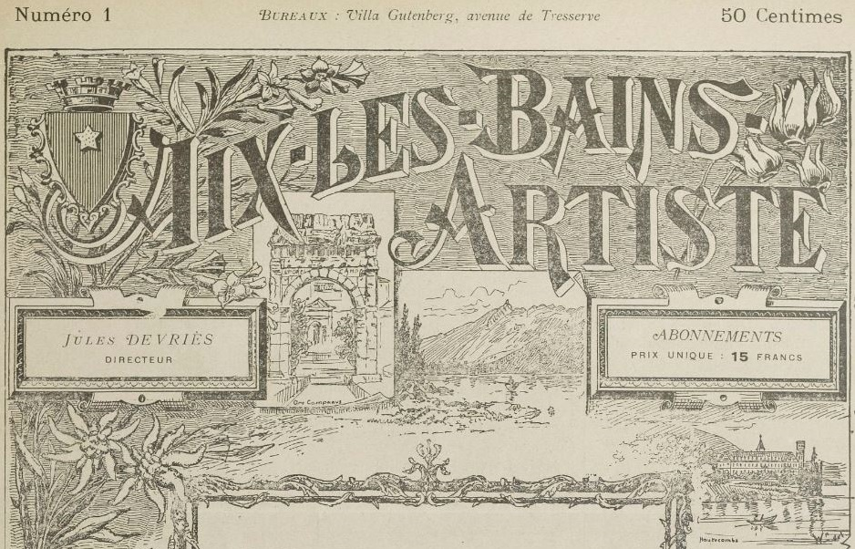 Photo (BnF / Gallica) de : Aix-les-Bains artiste. Aix-les-Bains, 1896-[1896 ?]. ISSN 2120-5159.