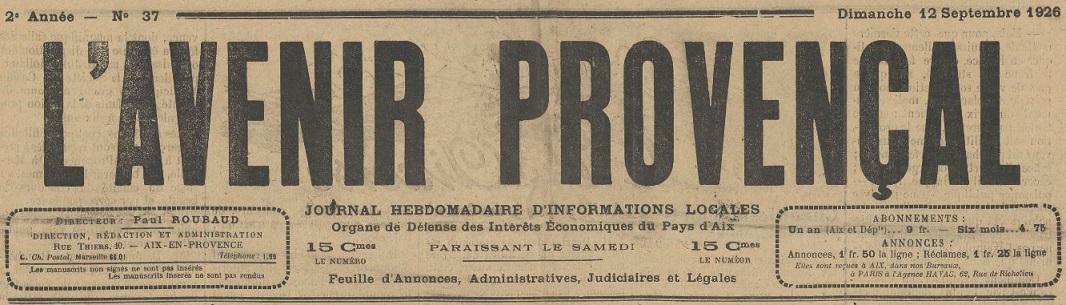 Photo (BnF / Gallica) de : L'Avenir provençal. Aix-en-Provence, 1925-1944. ISSN 2121-6606.
