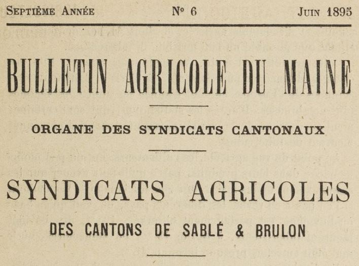 Photo (BnF / Gallica) de : Bulletin agricole du Maine. Le Mans, 1891-1900. ISSN 2122-3696.